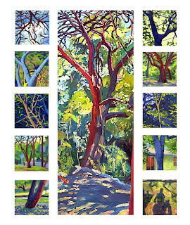Oil painting series of multiple landscape/tree scenes with shadow figure (lower right painting)