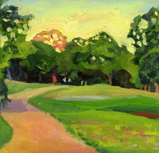 Oil painting of Stacy Park in Austin, TX