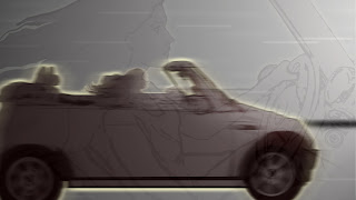 Blended view of driver (fading) and Cooper car in animation still