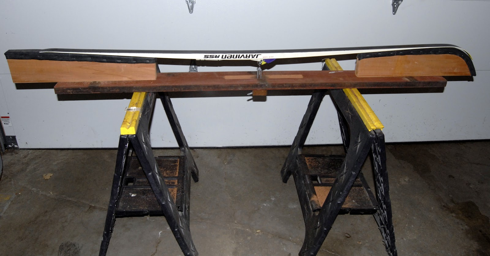 Superb img of Ski Waxing Bench Savoring Servant: Nordic ski waxing bench  with #B1981A color and 1600x838 pixels