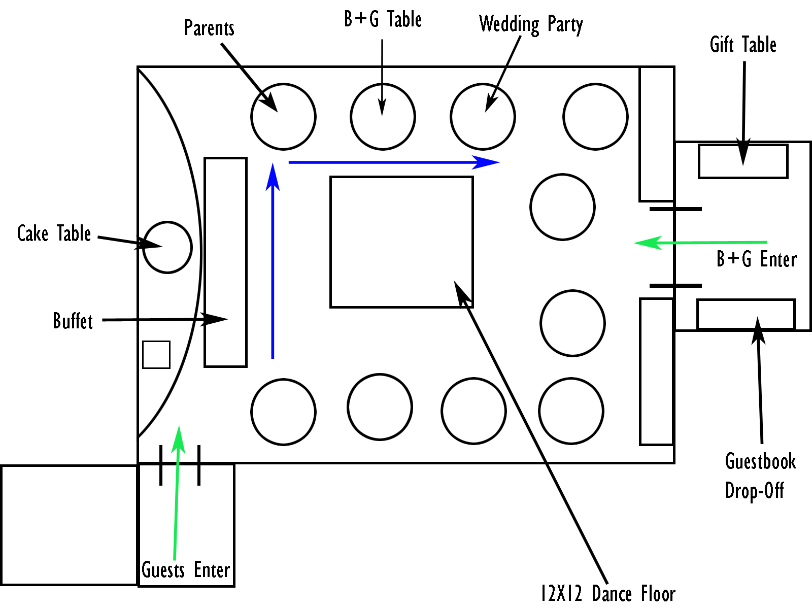 Banquet rooms banquet room table layout for Wedding reception layout