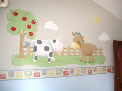 Murales en dormitorios dormitorio de bebe la granja - Murales para dormitorios infantiles ...