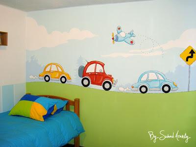 Murales en dormitorios dormitorio de carritos for Murales de pared para dormitorios