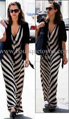 Black  White Striped Dress on Pre Order Jessica Alba S Black And White Stripe Long Dress