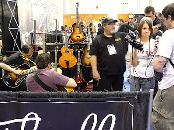 Camera Crew interviewing Ryan about Thorell Guitars