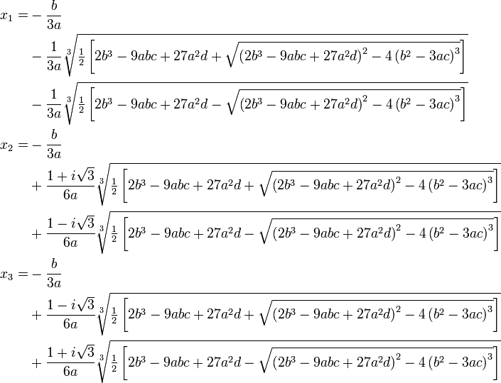 how to get root of cubic equation