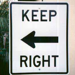 Keep right, arrow points left