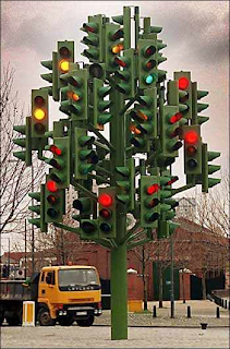 Enormous, confusing traffic signal with a few hundred lights on it