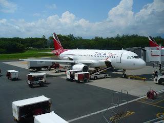 San Salvador airport aircraft at gate