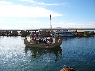 Reed boat with tourists