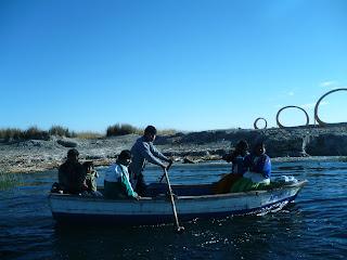 Uros islanders in boat