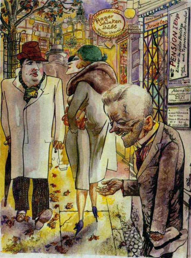 the work of german artists george grosz and otto dix in post world war i germany The german artist, otto dix, began his career painting in an expressionist style   his work was highly critical of the weimar republic and extremely satirical,   after the second world war, his subjects were mainly religious or of post-war  suffering  major figures associated with this style are george grosz and otto  dix.