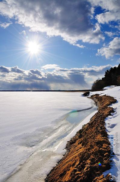 Солнце, Снег, Пейзаж, Облака, Небо, Вода