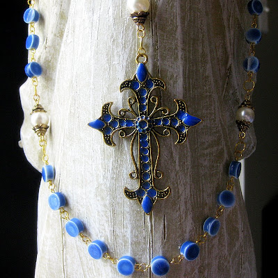 Holy Rosary Handcrafted in Blue Ceramic and Pearls