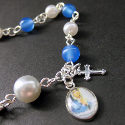 Blue Agate and Pearl Rosary Bracelet