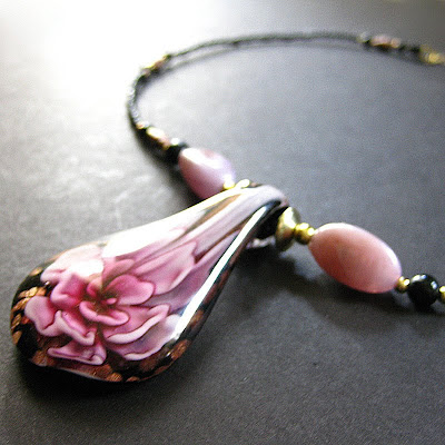 Carnation Bloom Beaded Lampwork Necklace in Pink
