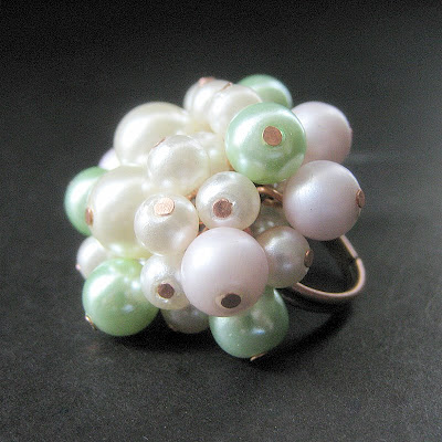 Seafoam Princess Pearl Cluster Ring with Vintage Pearls