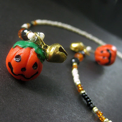 Fully Beaded Jack O Lantern Bookmark