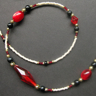 Elegant Red and Black Beaded Lanyard - Eileen