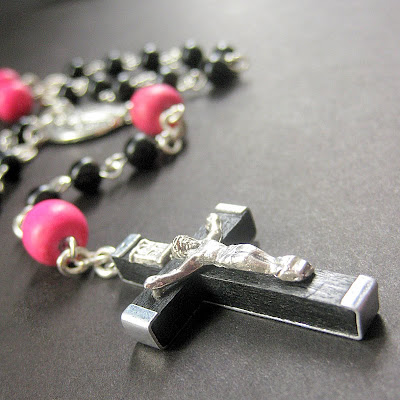 La Femme Goth Pink and Black Catholic Rosary