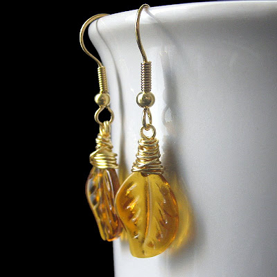Glass Amber Leaf Earrings, Wire Wrapped in Gold