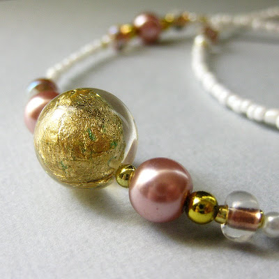 Pink Pearl and Gold Flake Beaded Lanyard