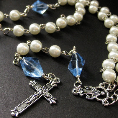 Holy Rosary in White Pearls and Blue Glass