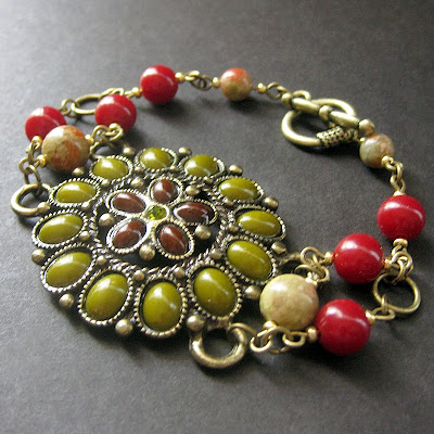 Unakite Gemstone Bracelet in Olive and Brick Floral Motif