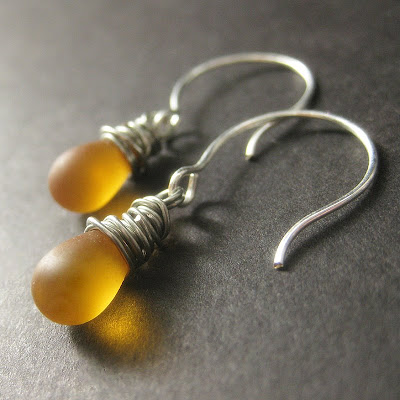 Clouded Amber Teardrop Earrings Wire Wrapped in Silver