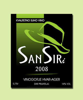 san siri white wine label