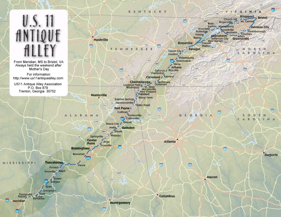 Tales From Bloggeritaville Antique AlleyHighway Yard Sale - Us highway 11 map