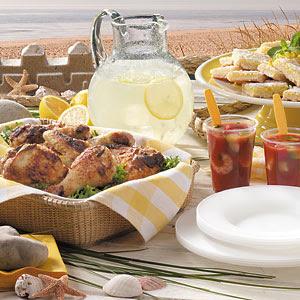 Plates & Places: Beach Picnic: Chicken, Soup, Dessert