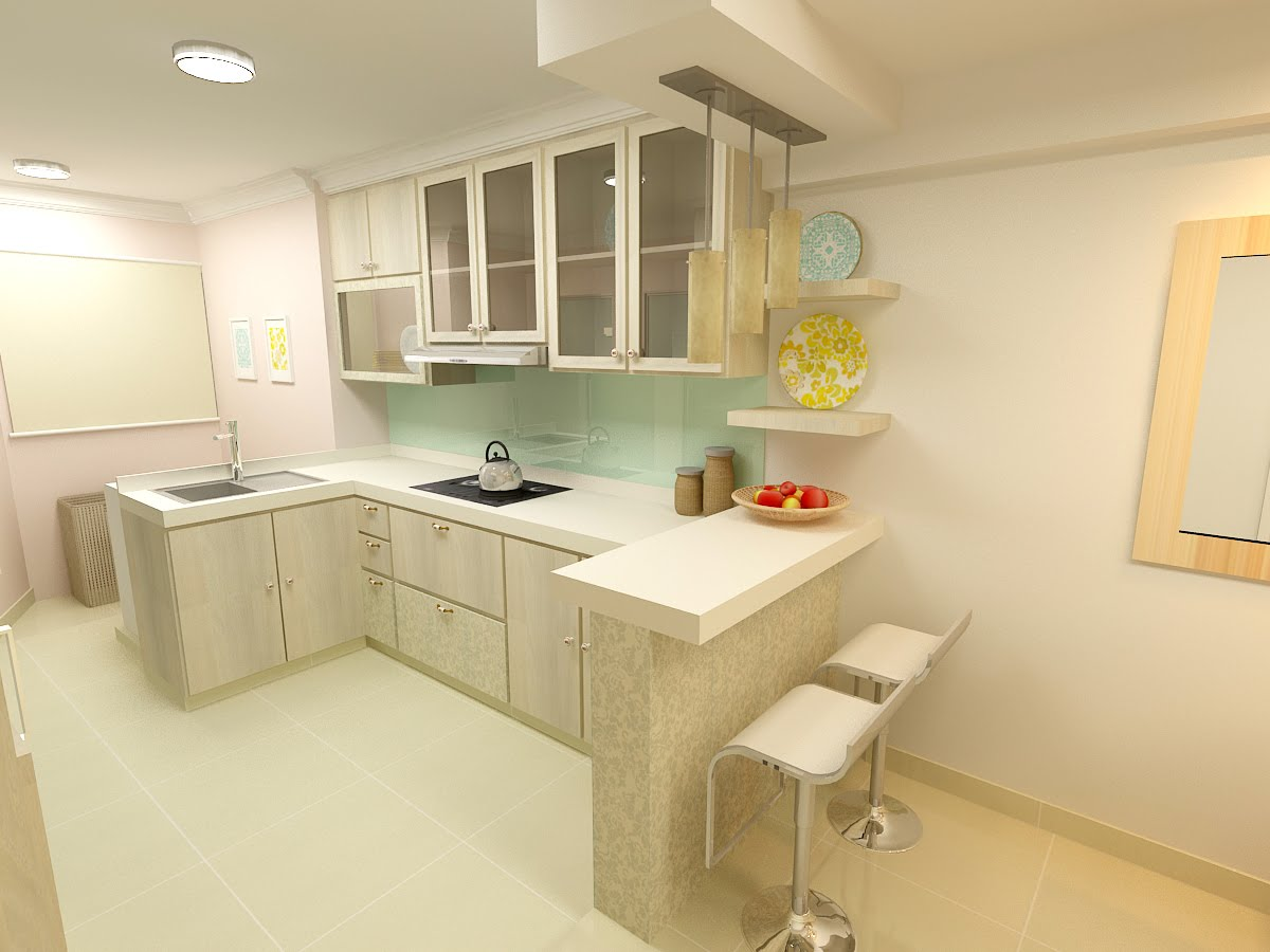 F guinto portfolio modern country style hdb 3 room flat for Small flat kitchen design