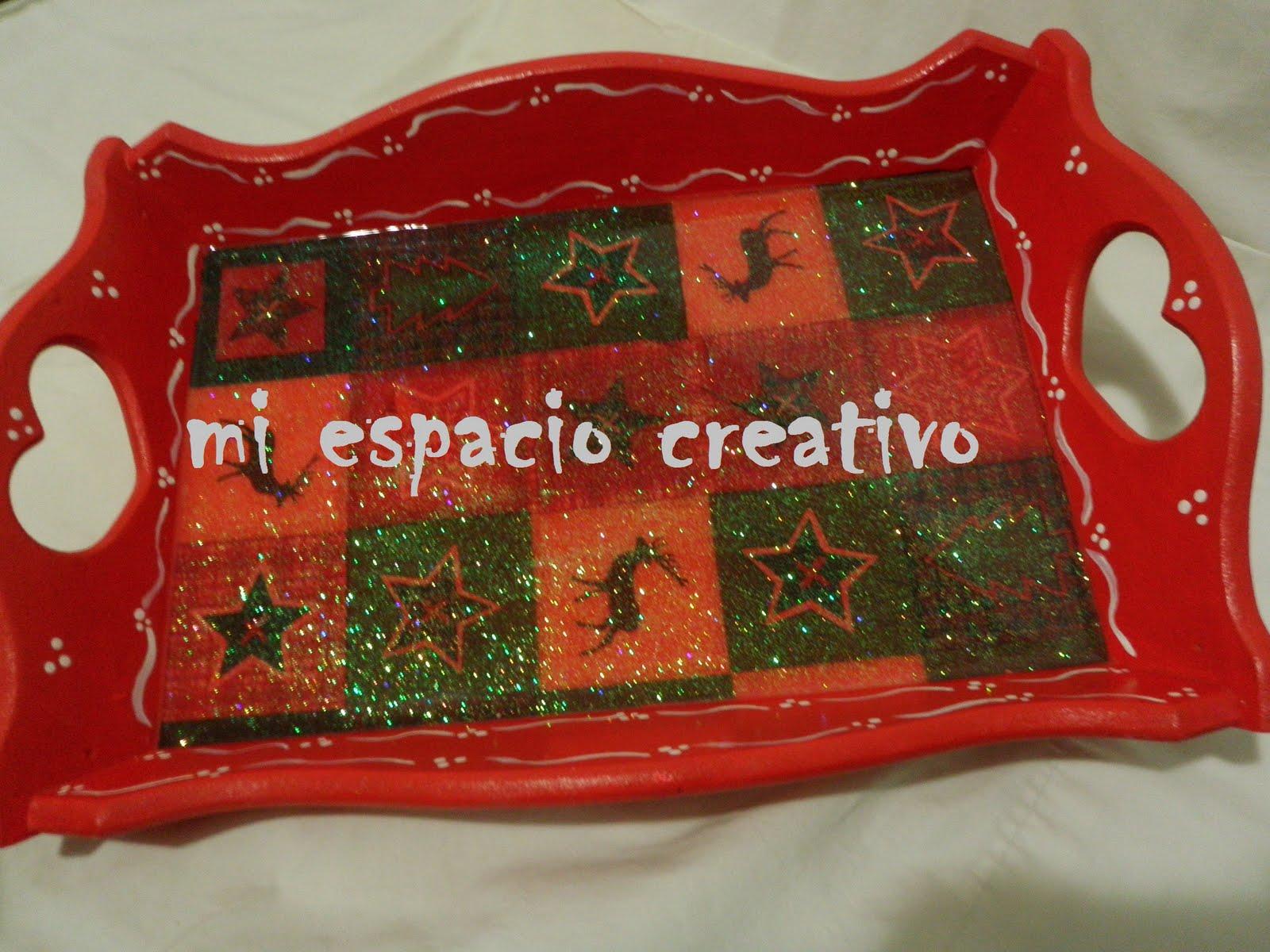 Mec mi espacio creativo 10 bandeja de navidad decoupage for Bandejas de navidad