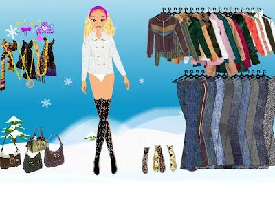Juego de vestir a Barbie nieve
