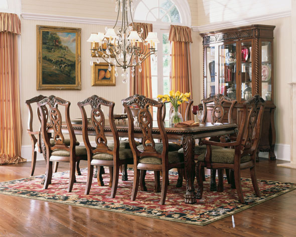 the dining room furniture.