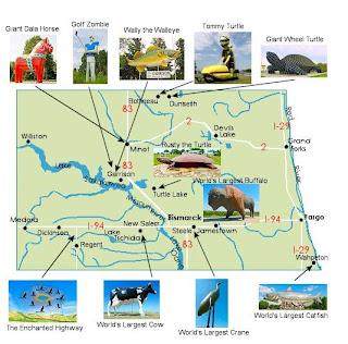 Worlds Largest Things Inc North Dakota Map Of Big Things - Where is north dakota