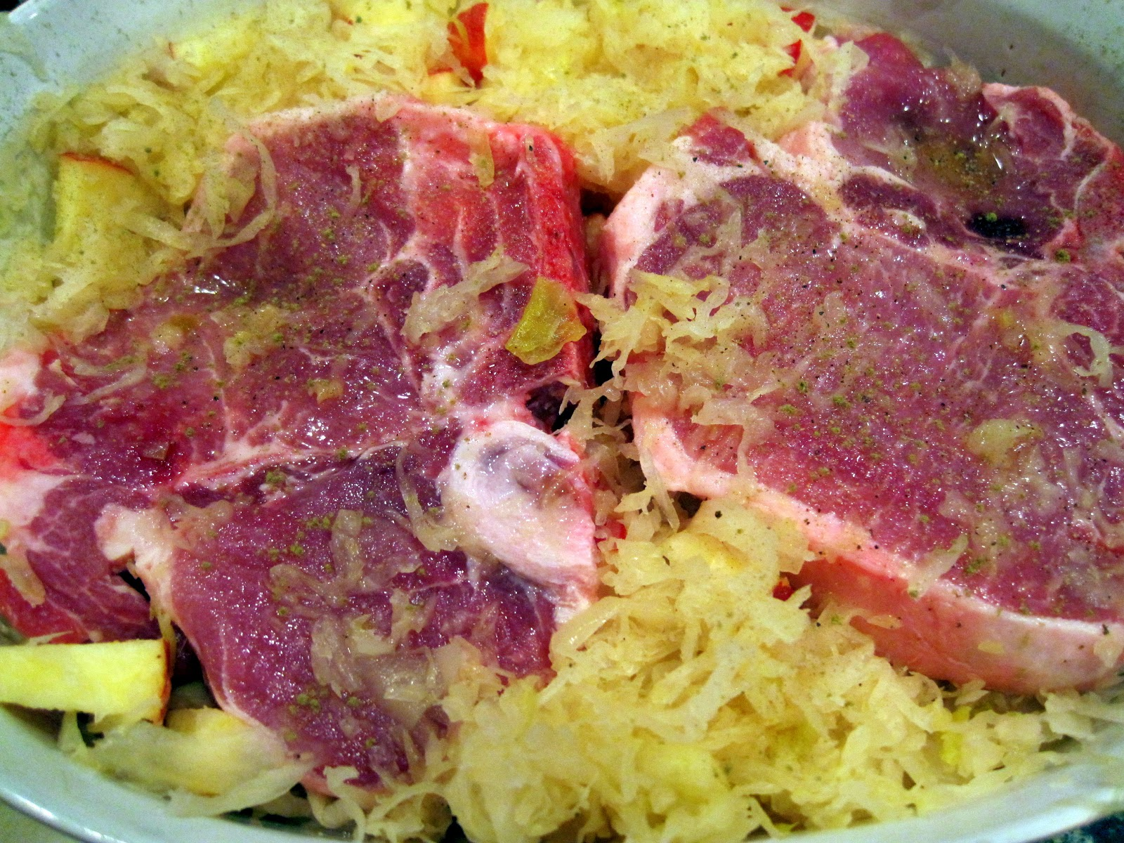 Oven Baked Pork Chops and Sauerkraut – A Cork, Fork ...