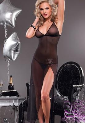 robe lingerie longue transparente