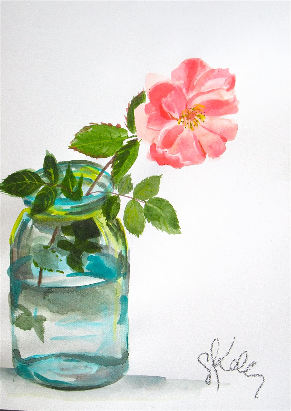 another LOOK Peach Rose watercolor flower by Gretchen Kelly