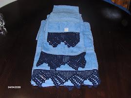 conjunto de toalhas turcas com barras de   renda  40€