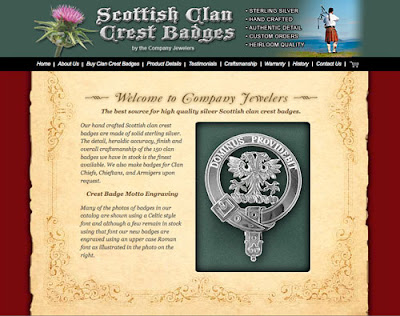 Crest Badges Web Site for Scottish Clan Sterling Silver Jewelry