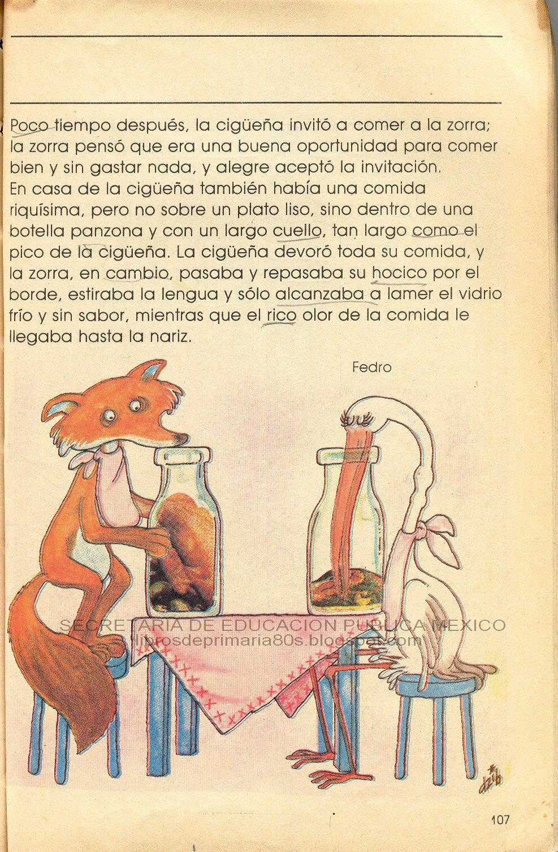 Libros de Primaria de los 80's: La zorra y la cigüeña (Mi libro de segundo  Lecturas)