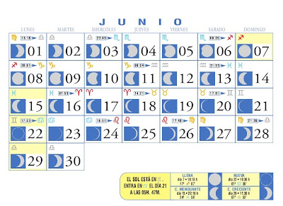 Centro astrologico venezolano calendario lunar junio 2009 for Calendario lunar junio