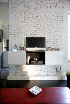 Living in designland interiores con paredes de ladrilo visto - Pared de ladrillo blanco ...