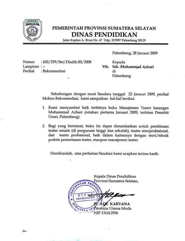 Sambutan Kepala Dinas Pendidikan Sumatera Selatan