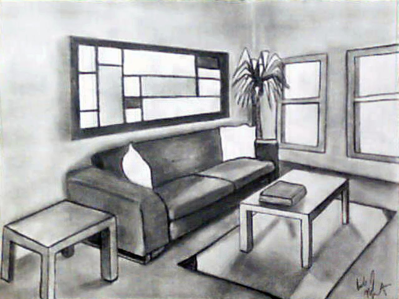 One Point Perspective Drawing Living Room