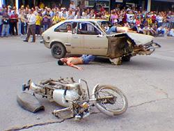 Simulacro de accidente de tránsito en Avda. Sarandí