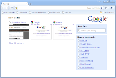 google chrome browser witht humbnails