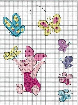 Un poquito de todo esquema punto de cruz piglet y mariposas for Punto croce disney winnie the pooh